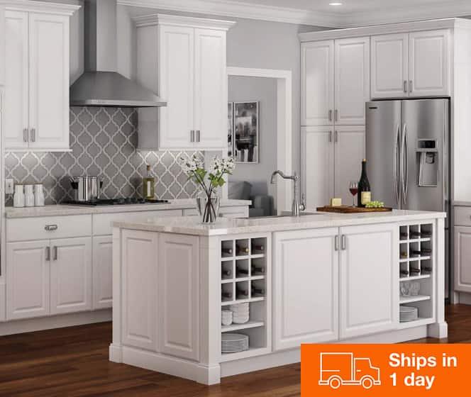 Hampton Bay Hampton Satin White Cabinets