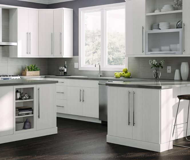 Hampton Bay Designer Series Edgeley Glacier Cabinets