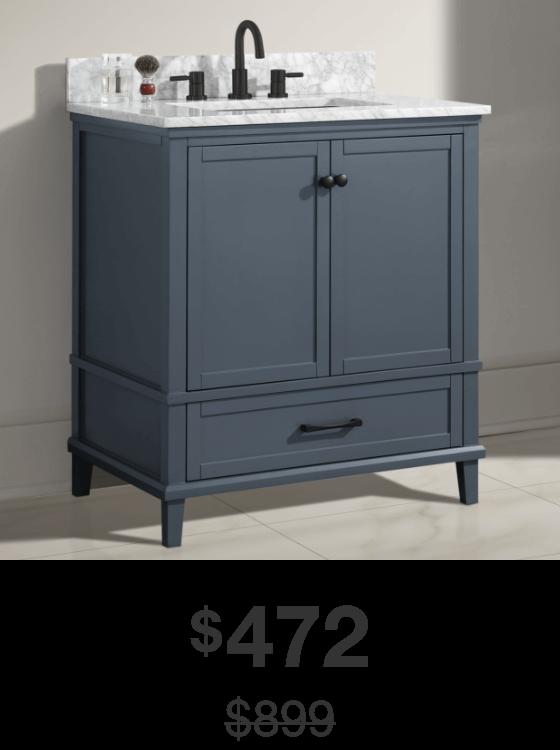 Merryfield 31 in. Dark Blue-Gray Vanity with Carrara Marble Top
