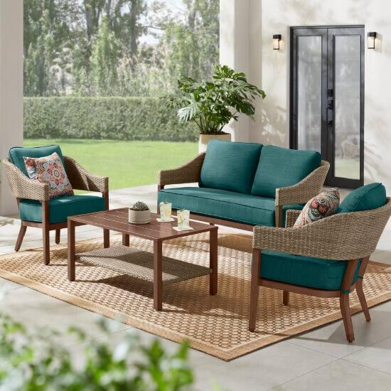 Leighton Park 4-Piece Wicker Patio Conversation Set with CushionGuard Malachite Green Cushions