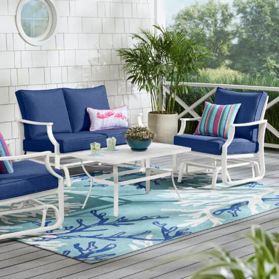 Harbor Point White 4-Piece Metal Patio Conversation Set with CushionGuard Mariner Blue Cushions