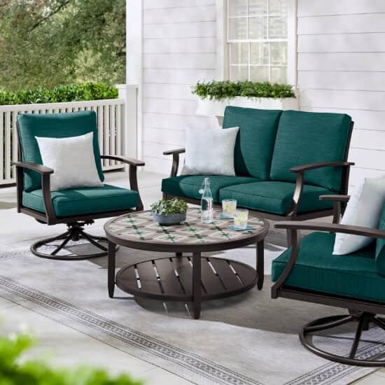 Ellington 4-Piece Steel Outdoor Seating Set with CushionGuard Malachite Green Cushions