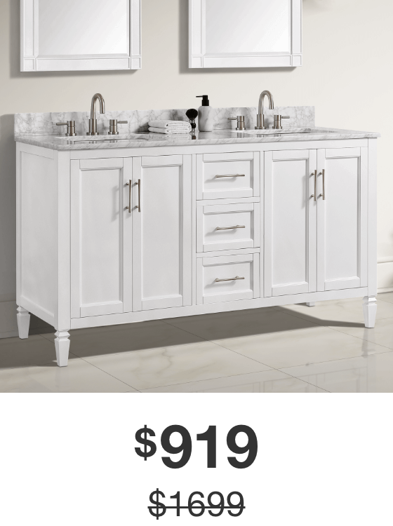 Stockham 61 in. White Vanity with Carrara Marble Top