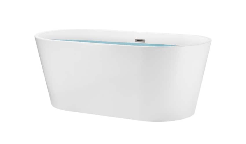 Photo of a white, freestanding bathtub filled with water against a white background