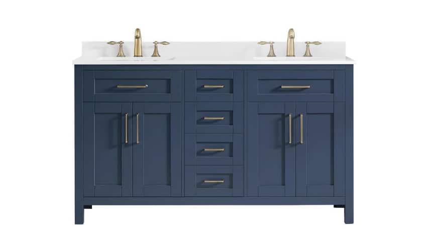 Photo of a blue bathroom vanity