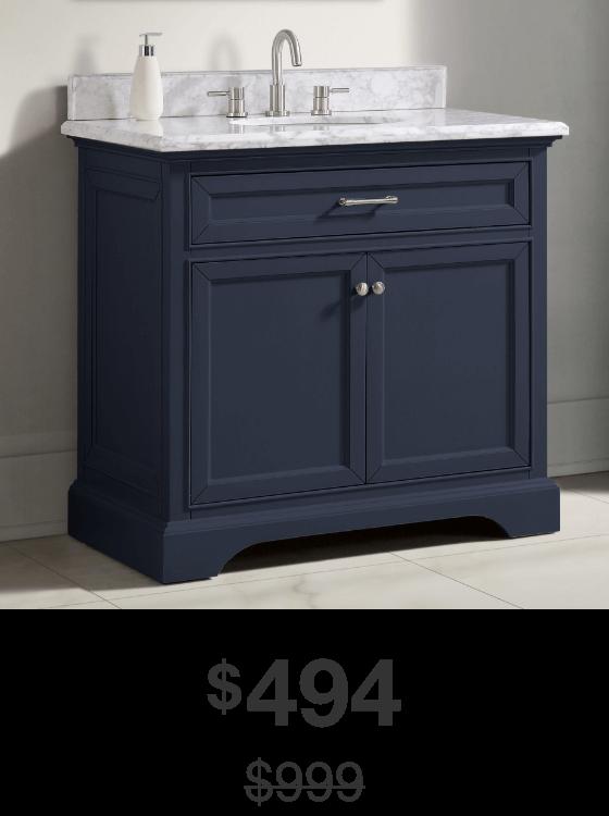 Windlowe 37 in. Navy Blue Vanity with Carrara Marble Top
